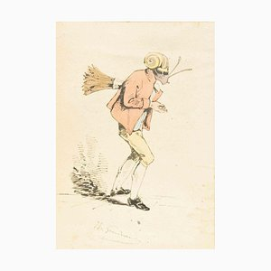 The Sweeper - Original Ink Drawing and Watercolor by J.J. Grandville 1845 ca.