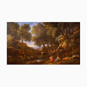 Wooden Landscape with Shepherds, Fountain and Flock - by Jan Frans van Bloemen 18th century
