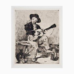 Le Chanteur Espagnol ou Le Guitarrero, Etching 1861
