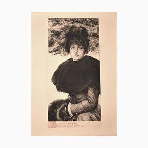 Promenade dans la Neige - Original Etching by J. Tissot - 1880 1880