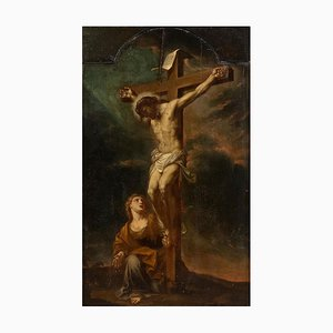 Crucifixion - Oil on Panel by F. Trevisani - Early 18th Century Early 18th Century