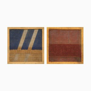 Pair of Untitled Paintings - Colored Jute by Salvatore Emblema - 1978/79 1978-1979