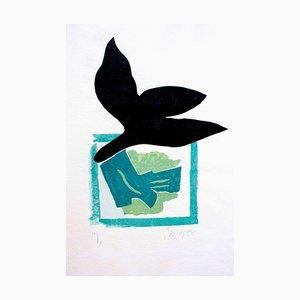 Si Je Mourais là-bas: ein Teller - Original Holzschnitt von Georges Braque - 1962 1962