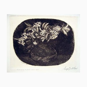Ciclamini su Fondo Scuro - Gravure à l'eau-forte par Luigi Bartolini - 1941 1941