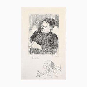 Grand'mère - Portrait de la femme de l'artiste - Originale Lithographie 1895 1895