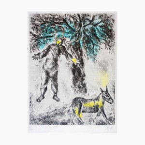 Acquaforte Fin d'Absalom - Incisione originale colorata a mano di Marc Chagall - 1958 1958