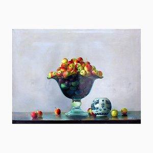 Kristallvase mit Äpfeln - Original Öl auf Leinwand - 2001 2001