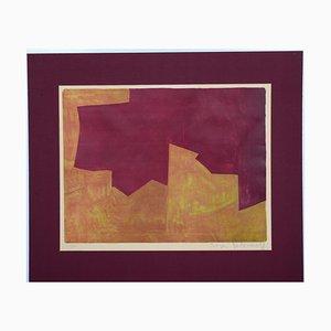 Lithographie Original Orange & Bordeaux - Lithographie Originale par Serge Poliakoff - 1963 1963