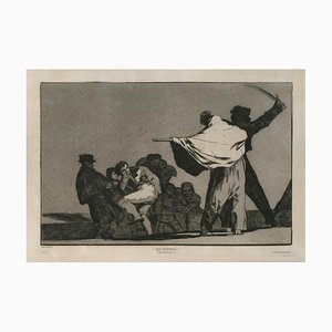 ¡ Que Guerrero! - Original Etching and Aquatint by F. Goya - 1877 1877