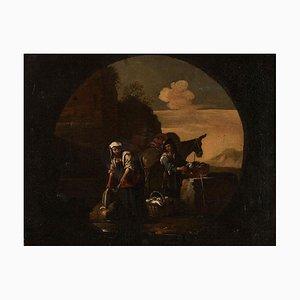 Genre Scene - Oil on Canvas Atelier of Michelangelo Cerquozzi - Mid 1600 Mid 17th Century