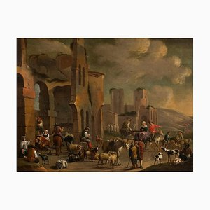 Great Genre Scene - Oil on Canvas - Late 17th Century Late 17th Century