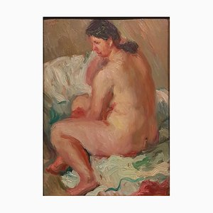 Nude of Woman - Oil on Board by Emilio Notte - Late 1941 1941