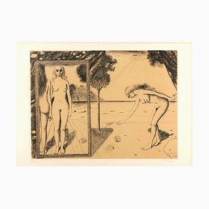 La Plage - Original Lithograph by Paul Delvaux - 1972 1972
