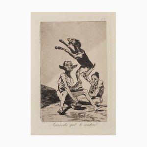 Aguarda que te unten - Origina Etching and Aquatint by Francisco Goya - 1868 1868