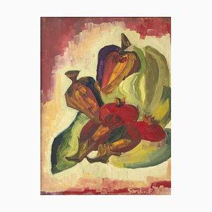 Still Life - Original Oil on Board by E. Sardini - 1972 1972