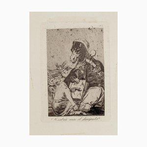 ¿Si sabra más el discípulo? - Origina Etching by Francisco Goya - 1868 1868