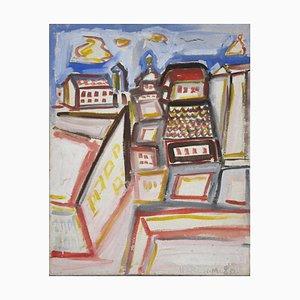 Colored City - Oil on Canvas by Mario Martini 1980 1980