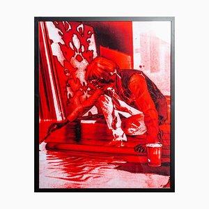 Retrato de Andy Warhol - Impresión en rojo de G. Bruneau - años 80