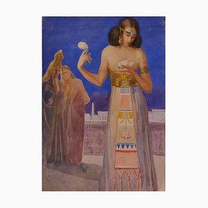 Antico Egitto - Acquarello originale di E. Loy - All'inizio del XX secolo