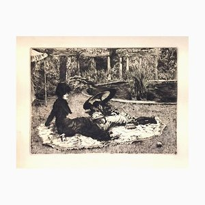 On the Grass - Original Etching and Drypoint by J. Tissot - 1880 1880