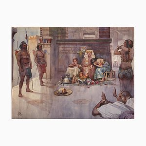 Altes Ägypten - Das - Original Aquarell von E. Sacchetti - Frühes 20. Jahrhundert Frühes 20. Jahrhundert