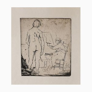 The Painter and the Model - Original Etching by Giacomo Manzù - 1930s 1930s