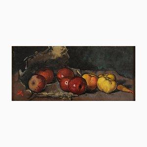 Stillleben mit Obst und Gemüse - Original Öl auf Leinwand von Luigi Spazzapan 1930er