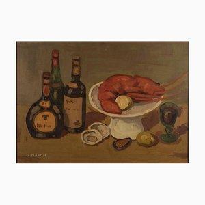 Bodegón con langosta - Óleo sobre lienzo original de Giovanni March - Finales de 1900. Segunda mitad de 1900