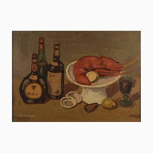 Still Life With Lobster - Original Oil on Canvas by Giovanni March - Late 1900 Second Half of 1900