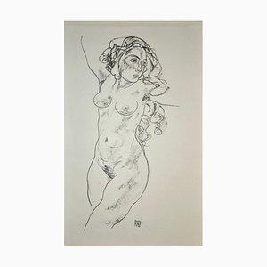 Standing Female Nude - Original Collotype Print After Egon Schiele - 1920 1920