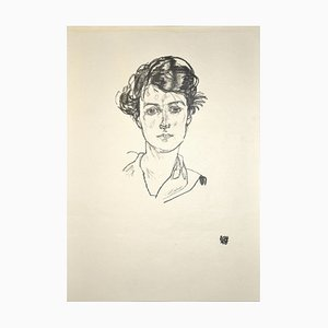 Portrait of a Young Woman - Original Collotype Print After Egon Schiele - 1920 1920