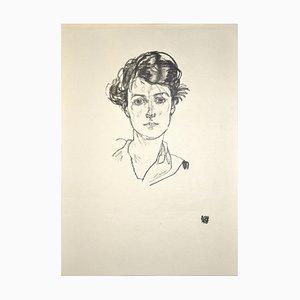 Ritratto di giovane donna - Stampa originale di Collotype After Egon Schiele - 1920 1920