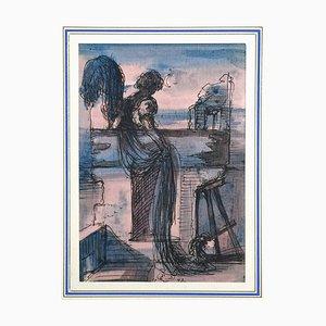 Figur bei Sonnenuntergang - Original Tinte und Aquarell Zeichnung von Eugène Berman 1942