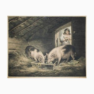 Girls and Pigs - Original Etching by William Ward After George Morland - 1797 1797