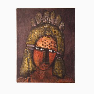 Untitled - Original Waxy Pastel on Canvased Cardboard by Mirko Basaldella Mid 20th century