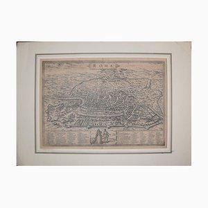 Mapa antiguo Roma / Roma, Civitates Orbis Terrarum de Braun and Hogenberg 1572-1617