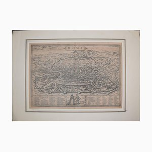Rome /Roma Antique Map, Civitates Orbis Terrarum by Braun and Hogenberg 1572-1617