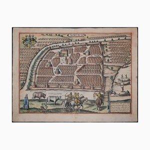 Antike Moskauer / Moscovia Karte, Civitates Orbis Terrarum von Braun und Hogenberg 1572-1617