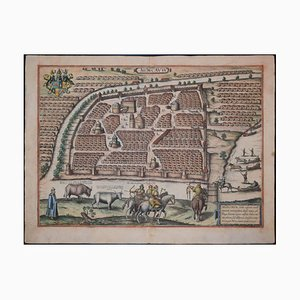 Mapa antiguo de Moscú / Moscovia, Civitates Orbis Terrarum de Braun and Hogenberg 1572-1617