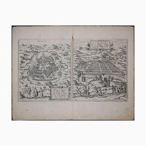 Mapa antiguo de la ciudad de México y Cusco, Civitates Orbis Terrarum de Braun & Hogenberg 1572-1617