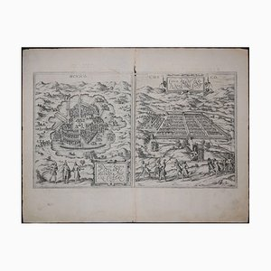 Mexico City & Cusco Antique Map, Civitates Orbis Terrarum by Braun & Hogenberg 1572-1617