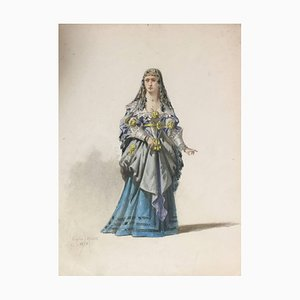 Woman in Theatrical Dress - Original Watercolor by Eugène Lacoste 1878