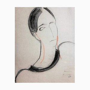 Ritratto di donna - anni '70 - François Chapuis - Pastel - Contemporary 1971