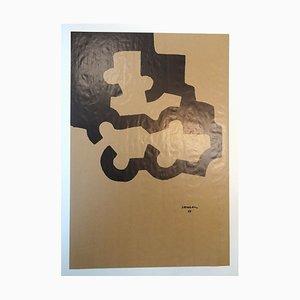 Untitled - Brown Serigraph - Eduardo Chillida Juantegui - Contemporary