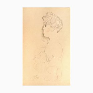 Sketched Portrait - 1910s - Original Collotype Print by Gustav Klimt 1919