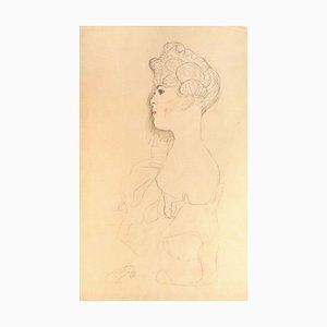 Sketched Portrait - 1910s - Original Collotypie Druck von Gustav Klimt 1919