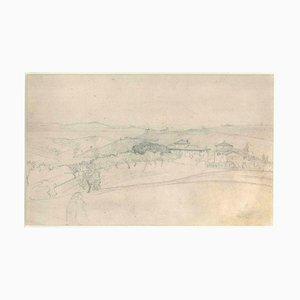Paysage de Vallon avec Maisons et Arbres - 19ème Siècle - Nino Costa - Dessin