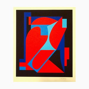 Red And Blue Composition - 1980s - Victor Vasarely - Serigraph - Contemporary 1989