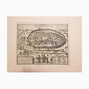 Gerusalemme, Mappa antica di '' Civitates Orbis Terrarum '' - 1572-1617 1572-1617