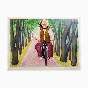Cyclist - Original Etching by Giuseppe Viviani - 1955 1955